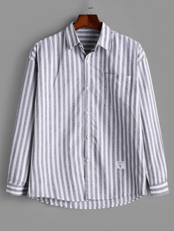 latest Striped Pocket Button Long Sleeve Shirt - GRAY XL