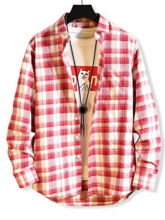 Plaid Button pattern tasca della camicia casual - Rosso L