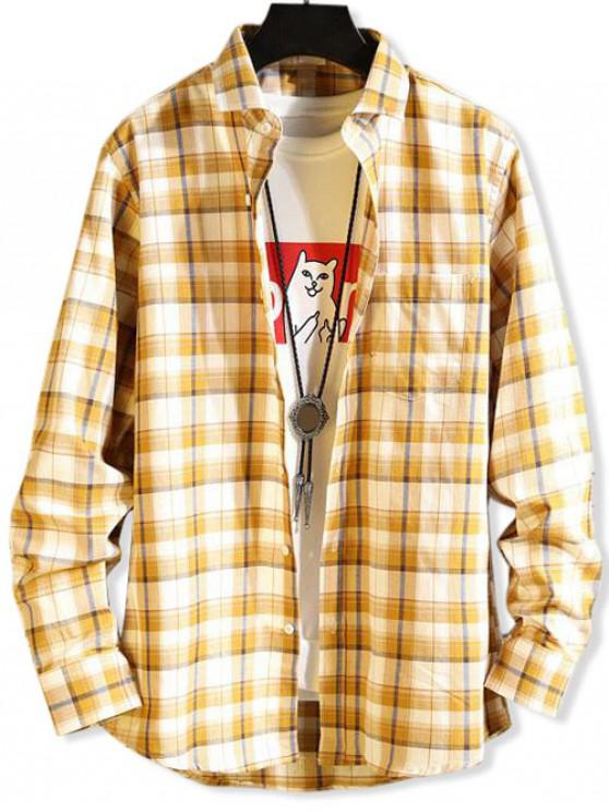 outfit Plaid Pattern Button Pocket Casual Shirt - YELLOW L