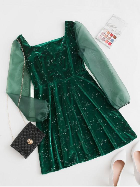 紗面板星光天鵝絨連衣裙火炬 - 深綠色 M