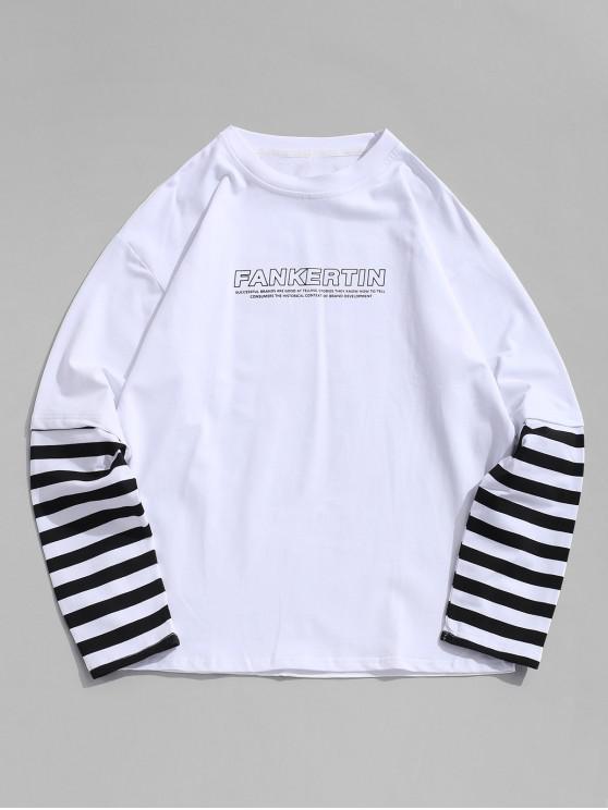 lady Striped Spliced Letter Print Faux Twinset T-shirt - WHITE M