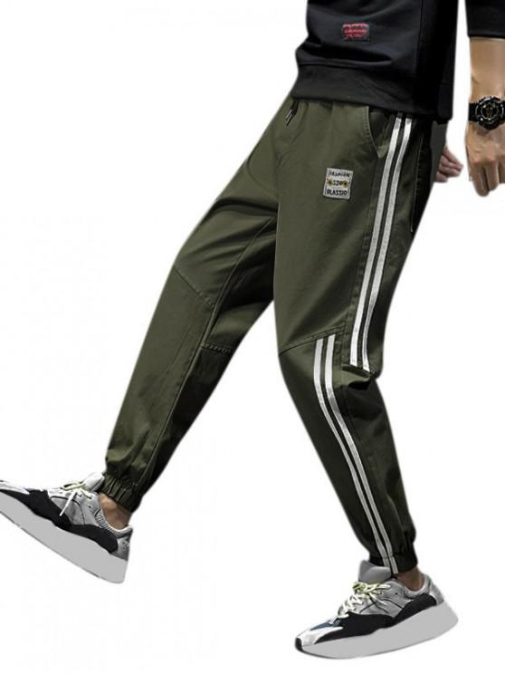 affordable Letter Striped Pattern Casual Jogger Pants - ARMY GREEN XL