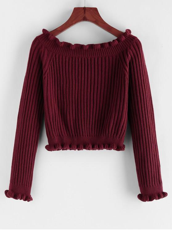 ladies ZAFUL Ribbed Ruffle Raglan Sleeve Crop Sweater - RED WINE L