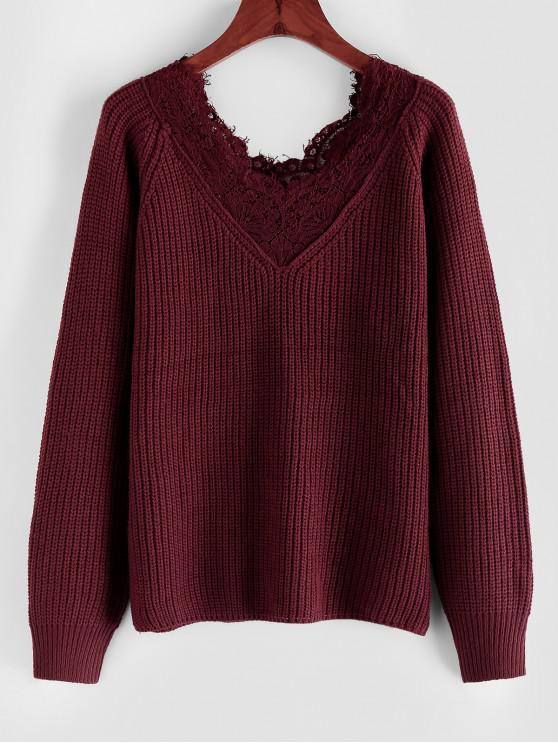 chic ZAFUL Raglan Sleeve Lace Insert Sweater - RED WINE M