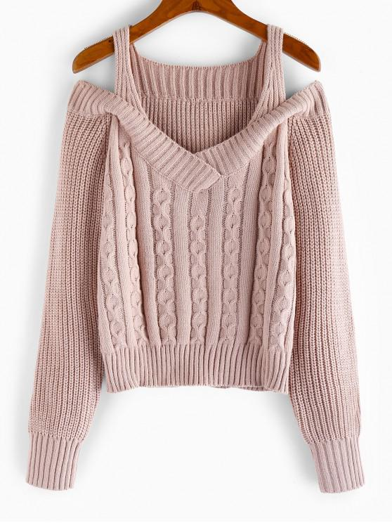 women's ZAFUL Cold Shoulder Cable Knit Sweater - PINK ROSE M