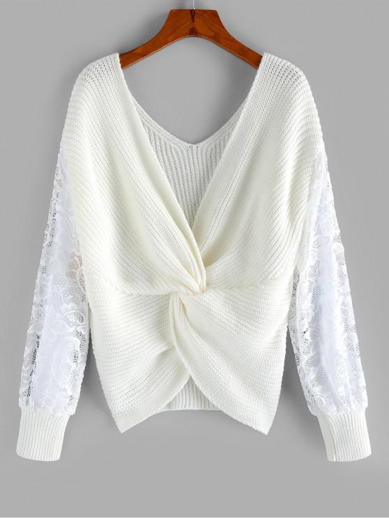 new ZAFUL Lace Insert Back Twist Sweater - WHITE M