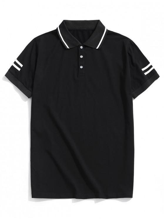 affordable Striped Turn-down Collar Short Sleeve T-shirt - BLACK S