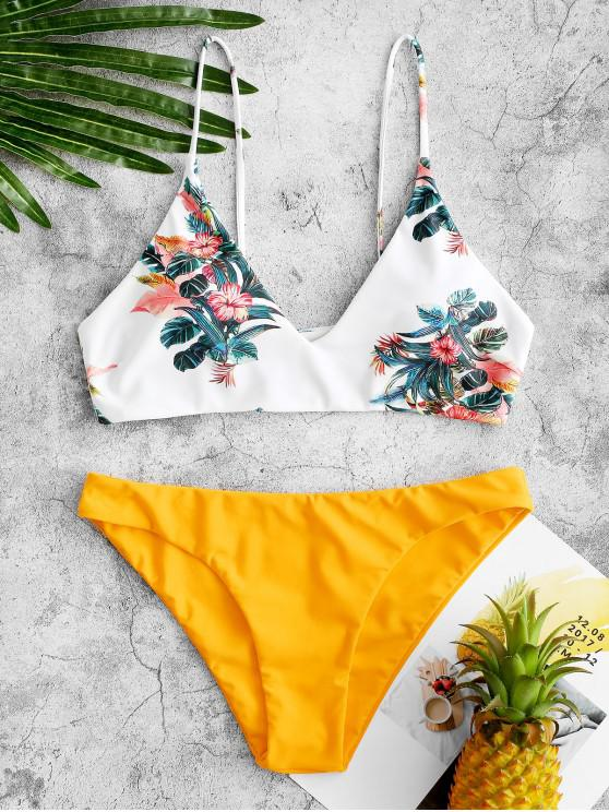 buy ZAFUL Tropical Leaf Bralette Bikini Swimsuit - GOLDEN BROWN M