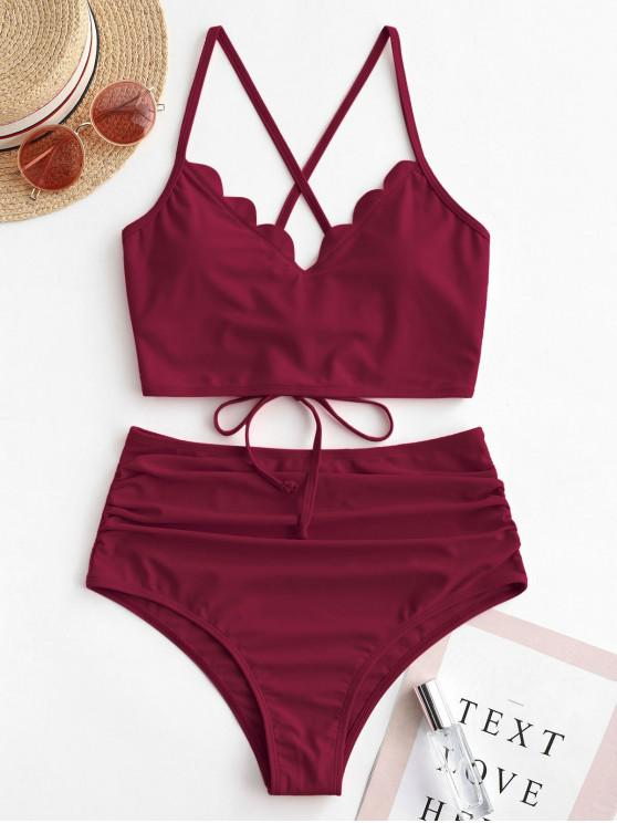 outfit ZAFUL Scalloped Lace-up Ruched Tankini Swimsuit - RED WINE 2XL