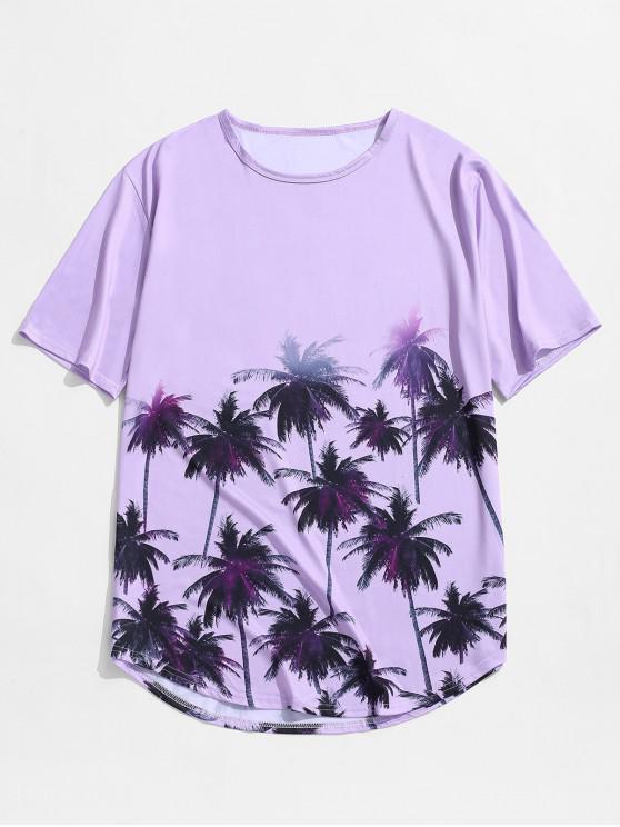 Принт кокосовой пальмы Футболка С коротким рукавом Для отдыха - Фиолетовый 2XL