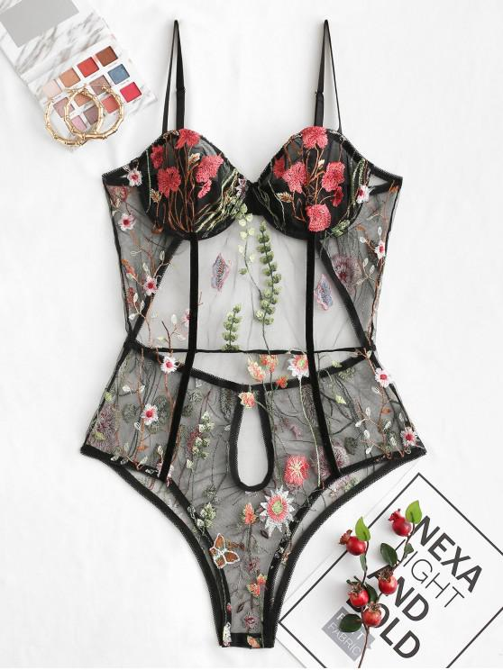best ZAFUL Flower Embroidered Velvet Piping Underwire Lace Lingerie Teddy - BLACK L