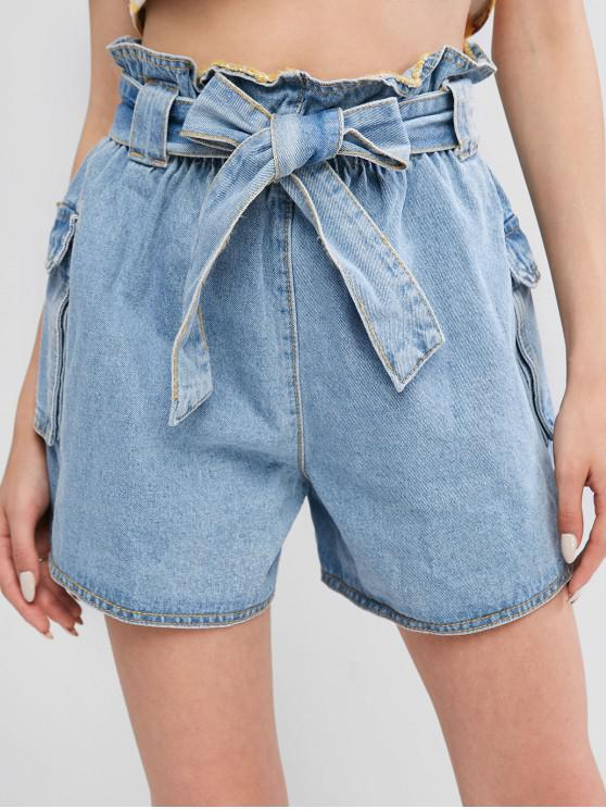 trendy ZAFUL Paperbag Pocket Denim Cargo Shorts - BLUE M