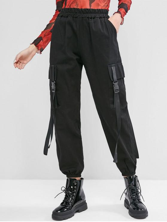 sale High Waisted Push Buckle Cargo Jogger Pants - BLACK M