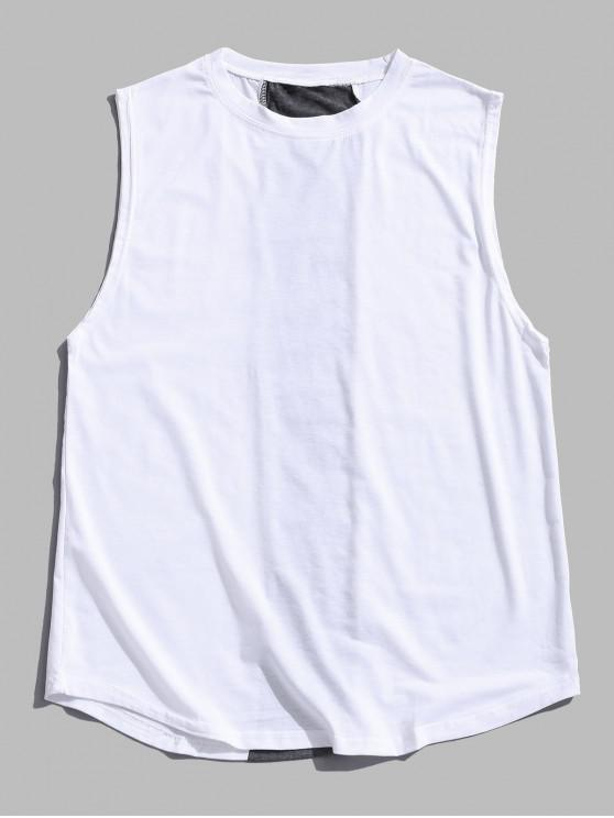 Farbblock Panel Tank Top - Weiß 2XL