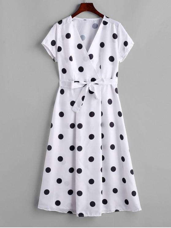 shops Polka Dot Belted V Neck Dress - WHITE S