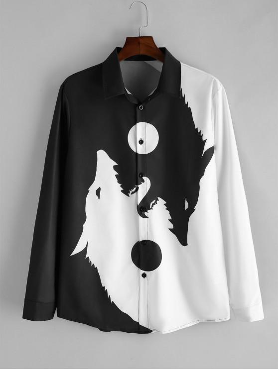 Wolf Print Button mâneci lungi Tricou - alb 2XL