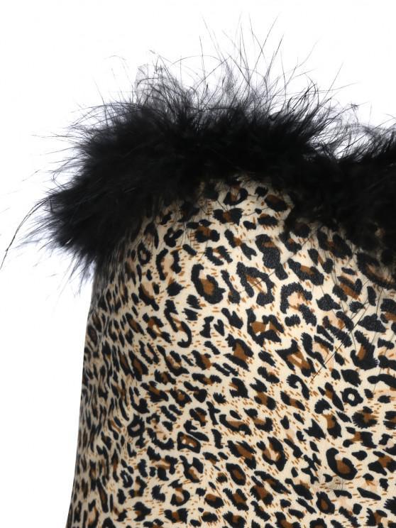 ZAFUL Faux Fur Trim Leopard Tube Top - Leopard M