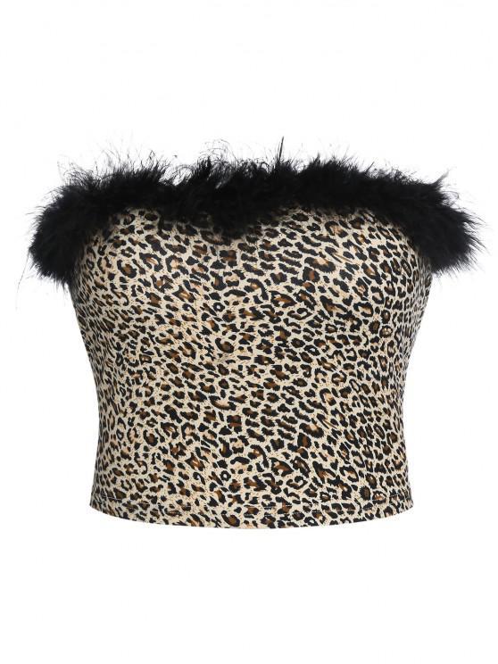 new ZAFUL Faux Fur Trim Leopard Tube Top - LEOPARD S