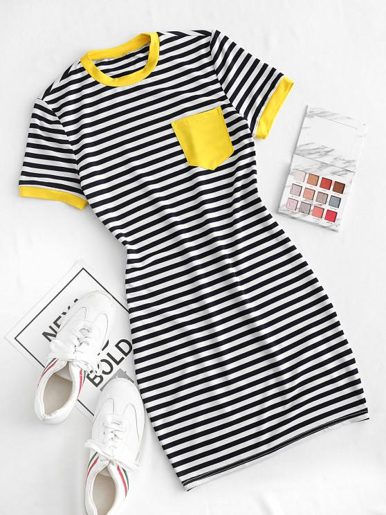 outfits ZAFUL Striped Pocket Bodycon Mini Dress - MULTI-A M
