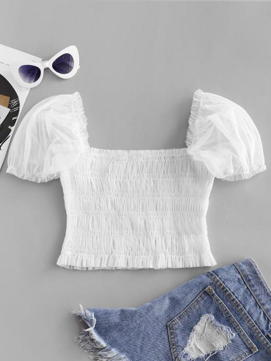 hot ZAFUL Tulle Smocked Sheer Puff Sleeve Top - MILK WHITE L