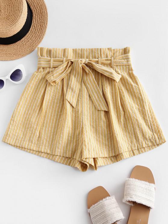 lady ZAFUL Striped High Waisted Paperbag Shorts - SUN YELLOW XL