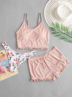 ZAFUL Frilled Floral Ribbed Three Piece Tankini Swimsuit - Light Pink Xl