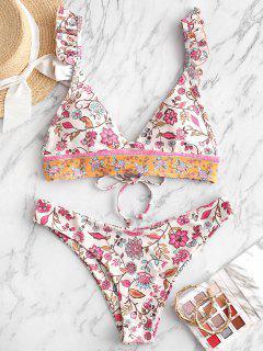 ZAFUL Ruffle Lace-up Plant Print Bikini Swimsuit - Warm White M
