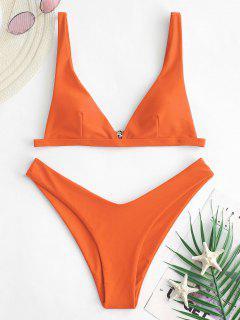 ZAFUL High Cut Plunge Bikini Swimsuit - Pumpkin Orange M