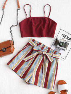 ZAFUL Cropped Belted Striped Two Piece Set - Cherry Red M