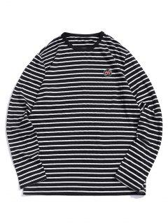 ZAFUL Number Embroidery Striped Long Sleeve T-shirt - Black Xl