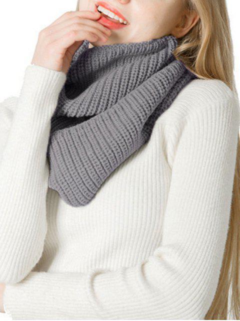 Одноцветный Зимний Вязаный Шарф - Серый металлик  Mobile