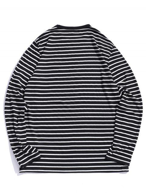 ZAFUL號碼刺繡條紋長袖T卹 - 黑色 L Mobile