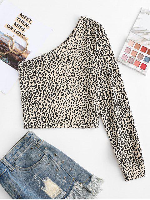 lady Leopard Print One Shoulder Crop Tee - VANILLA L Mobile