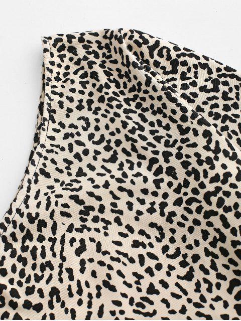 T-shirt Court Léopard Imprimé à Une Epaule - Vanille S Mobile