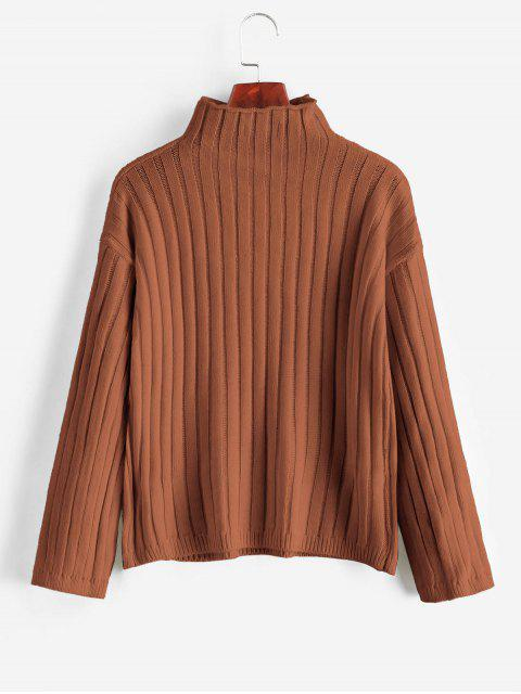 affordable Drop Shoulder Mock Neck Basic Jumper Sweater - BROWN ONE SIZE Mobile