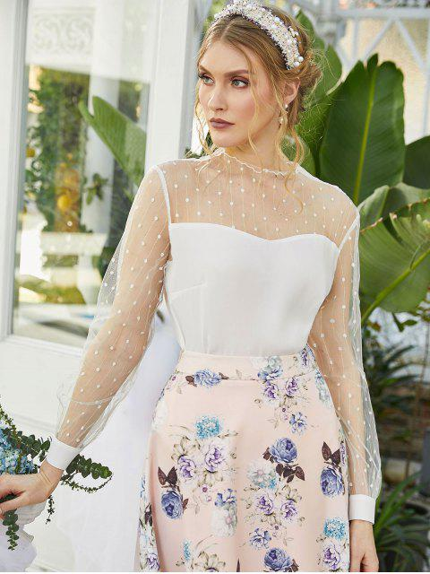 fashion ZAFUL Dotted Mesh Panel Lettuce Trim Blouse - WHITE XL Mobile