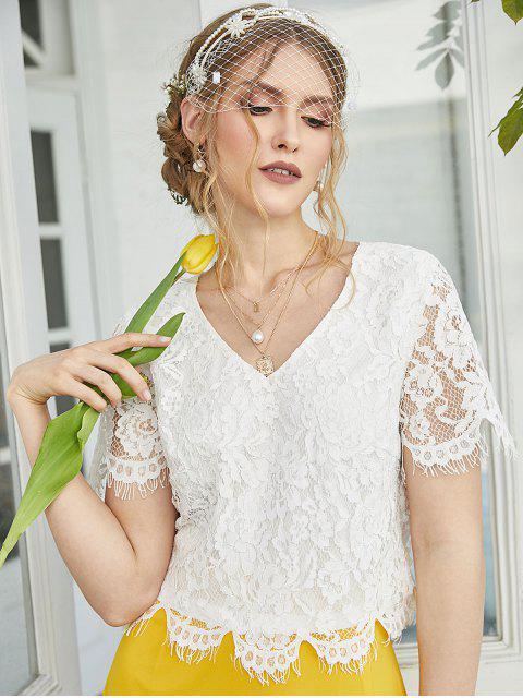 lady ZAFUL Back Slit Floral Lace Crop Blouse - WHITE S Mobile