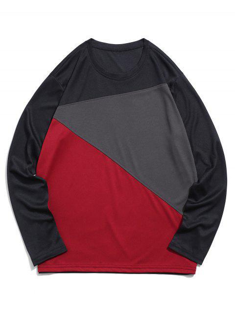 顏色塊面板長袖休閒T卹 - 黑色 2XL Mobile