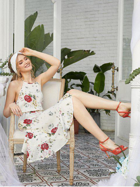 trendy ZAFUL Flower Halter Ruffle Backless Asymmetrical Dress - WHITE S Mobile