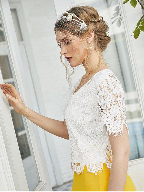 online ZAFUL Back Slit Floral Lace Crop Blouse - WHITE XL Mobile