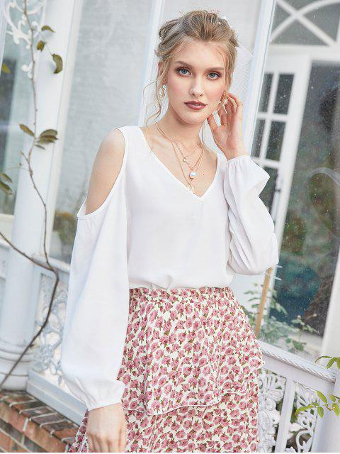 new ZAFUL Solid Criss Cross Cold Shoulder Blouse - WHITE S Mobile