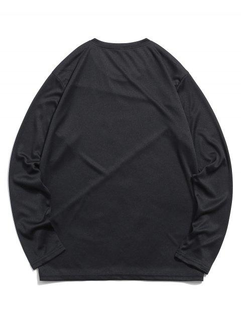 latest Color-block Panel Long Sleeve Casual T-shirt - BLACK XL Mobile