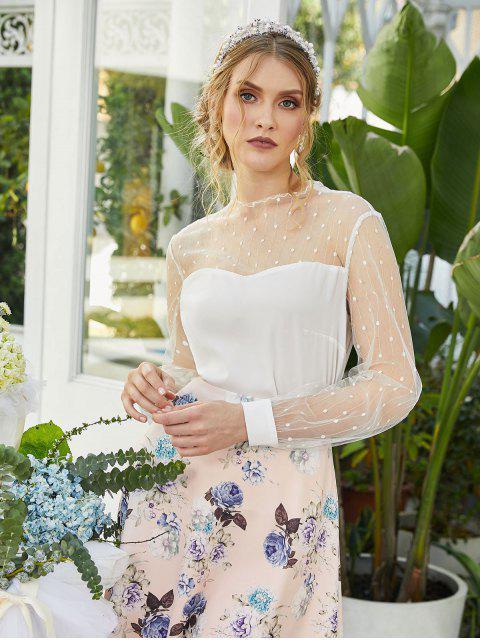 fashion ZAFUL Dotted Mesh Panel Lettuce Trim Blouse - WHITE S Mobile