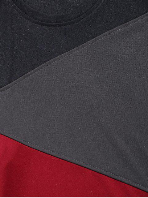顏色塊面板長袖休閒T卹 - 黑色 3XL Mobile
