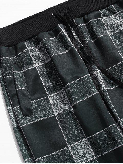 格仔打印抽繩休閒褲 - 黑色 3XL Mobile