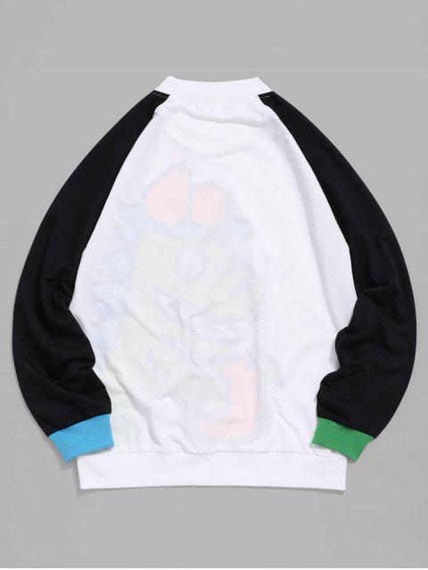 ZAFUL卡通恐龍Colorblock插肩袖套頭衫 - 白色 M Mobile