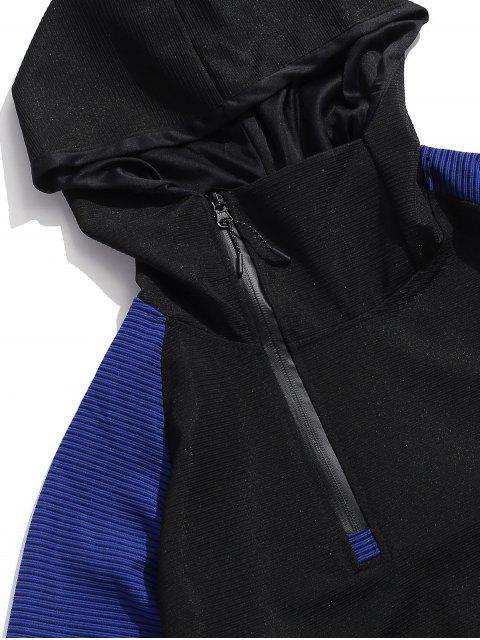 Colorblock拼接插肩袖連帽衫 - 黑色 2XL Mobile
