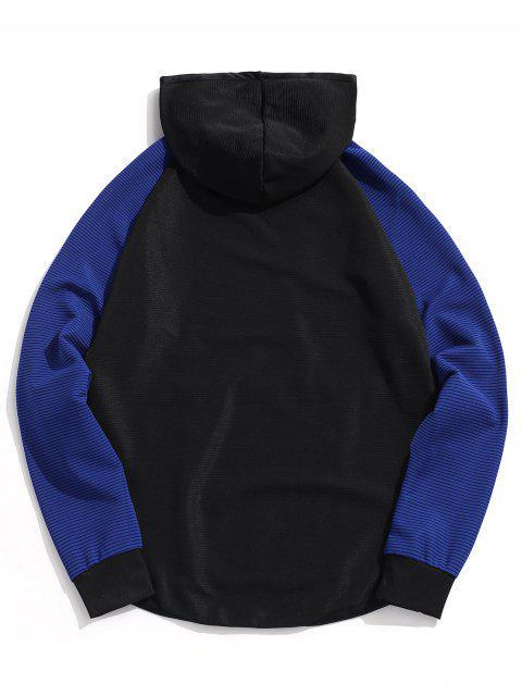 Colorblock拼接插肩袖連帽衫 - 黑色 L Mobile