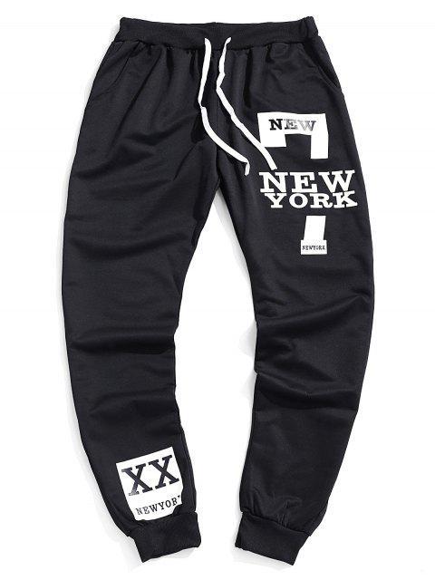 ladies Contrast Letter Print Drawstring Jogger Pants - BLACK XL Mobile
