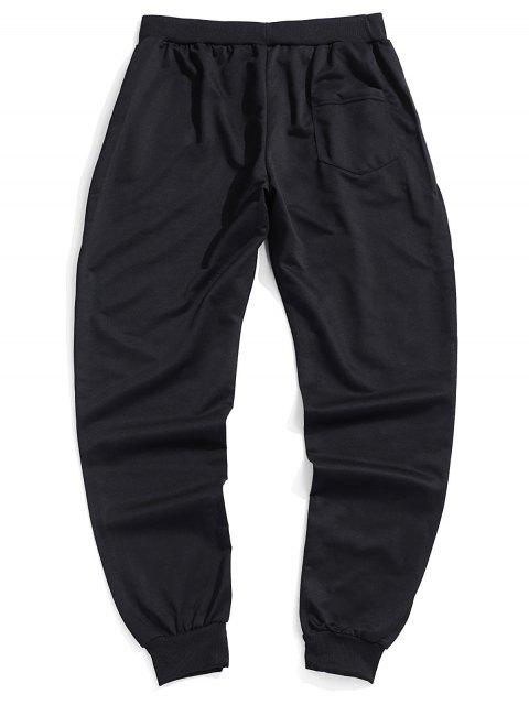 相比之下字母打印抽繩短褲慢跑者 - 黑色 XL Mobile